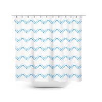 Aurora Home Hand Painted Dotted Chevron Shower Curtain