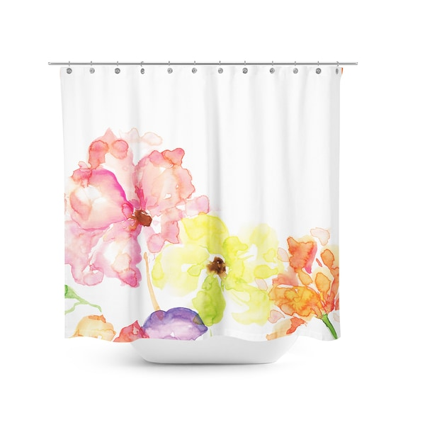 Aurora Home Hand Painted Flower Shower Curtain