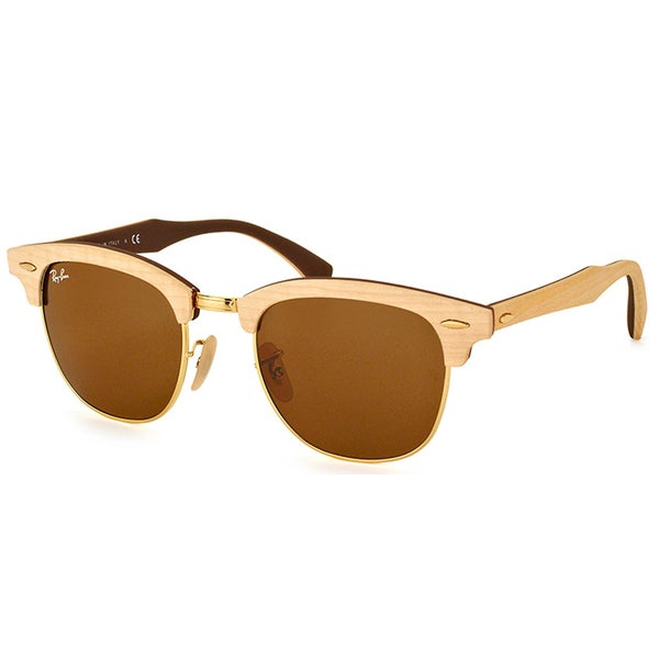 3af7fa0a449c3 Ray-Ban Clubmaster Wood RB 3016M 1179 Maple Clubmaster Plastic 51mm  Sunglasses