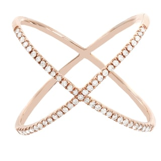 H Star 10k Rose Gold 1/5ct TDW Diamond Criss-cross Promise Ring (H-I, I2-I3)
