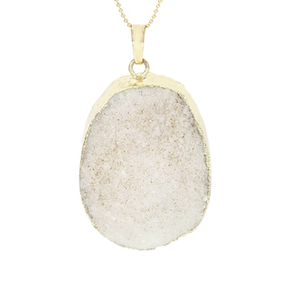 Fox and Baubles Sterling Silver White Druzy Quartz Pendant