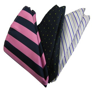 Dmitry Men's Italian Silk Pink/ Navy/ Lavender Pocket Squares (Pack of 3)