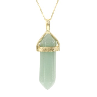 Fox and Baubles Yellow Gold Overlay Green Chalcedony Crystal Necklace
