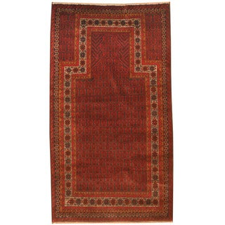 Herat Oriental Afghan Hand-knotted 1980s Semi-antique Tribal Balouchi Navy/ Red Wool Rug (2'9 x 5')