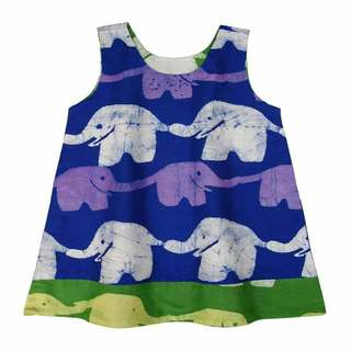Global Mamas Hand Batiked Reversible Baby Dress - Blueberry Lime Elephants (Ghana)