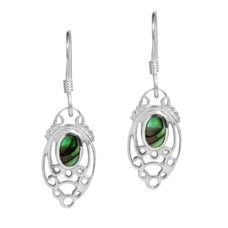 Handmade Enchanting Filigree Stone Sterling Silver Dangle Earrings (Thailand)