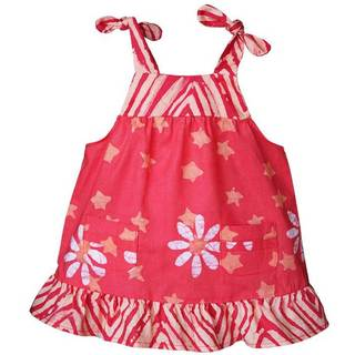 Global Mamas Handmade Baby Pocket Dress - Papaya Daisy Star (Ghana)