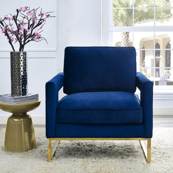 Office Chairs Walmart >> Shop Emory Navy Velvet Chair - Free Shipping Today - Overstock.com - 11517618