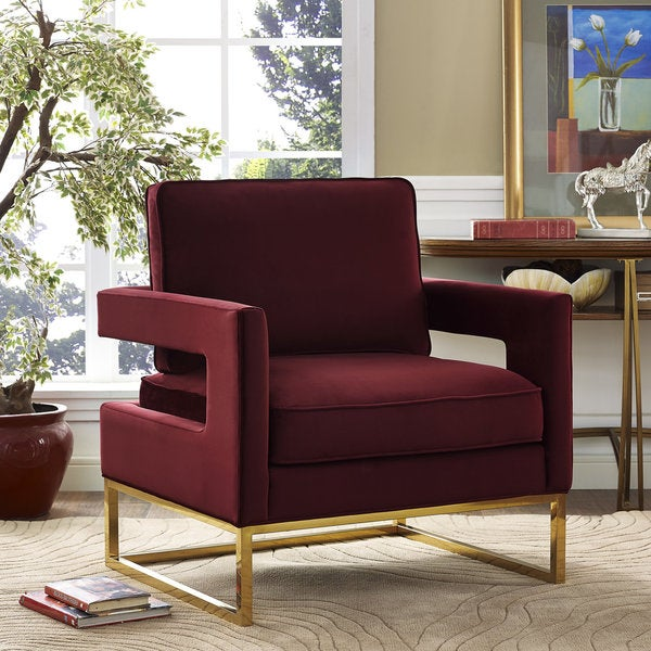Emory Marroon Velvet Chair