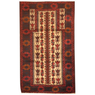Herat Oriental Afghan Hand-knotted 1970s Semi-antique Tribal Balouchi Ivory/ Navy Wool Rug (3' x 4'10)