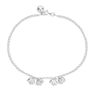 Two Couple Elephants Jingle Bell Charm .925 Silver Anklet (Thailand)