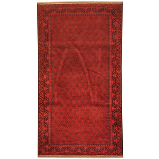 Herat Oriental Afghan Hand-knotted 1980s Semi-antique Tribal Balouchi Red/ Navy Wool Rug (2'9 x 5')