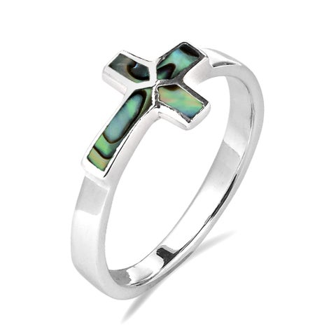Handmade Sideways Cross Stone Inlay Sterling Silver Ring (Thailand)