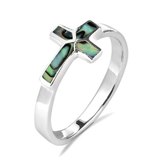 Handmade Sideways Cross Stone Inlay Sterling Silver Ring (Thailand)