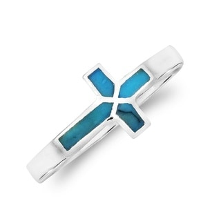 Sideways Cross Stone Inlay Sterling Silver Ring (Thailand)