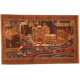 Herat Oriental Afghan Hand-knotted 1980s Semi-antique Tribal Balouchi Navy/ Red Wool Rug (3' x 4'9)
