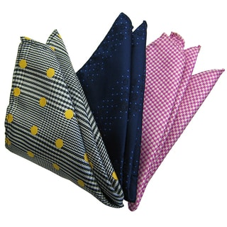 Dmitry Men's Italian Silk Grey/ Blue/ Pink Pocket Squares (Pack of 3)