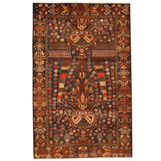 Herat Oriental Afghan Hand-knotted 1980s Semi-antique Tribal Balouchi Navy/ Gold Wool Rug (3'1 x 4'9)