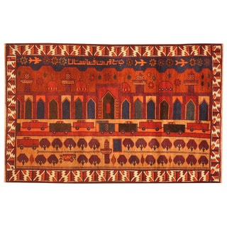 Herat Oriental Afghan Hand-knotted 1970s Semi-antique Tribal Balouchi Rust/ Navy Wool Rug (3' x 4'7)