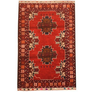 Herat Oriental Afghan Hand-knotted 1970s Semi-antique Tribal Balouchi Red/ Ivory Wool Rug (3' x 4'8)
