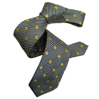 Dmitry Men's Grey Italian Patterned Silk Tie