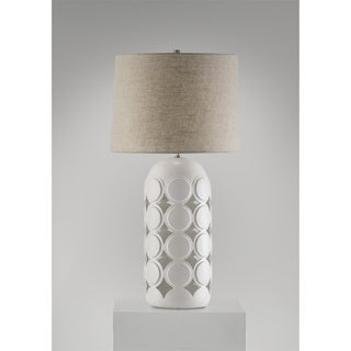 Macrodot Ceramic and Raffia Table Lamp