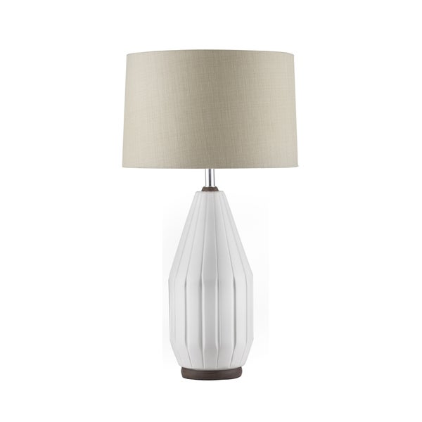 NOVA White and Walnut Grooves Ceramic Table Lamp