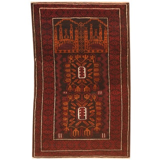 Herat Oriental Afghan Hand-knotted 1970s Semi-antique Tribal Balouchi Burgundy/ Black Wool Rug (2'6 x 4')
