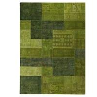 Handmade Renaissance Green Rug - 7'10 x 9'10 (India)