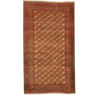 Herat Oriental Afghan Hand-knotted 1960s Semi-antique Tribal Balouchi Light Green/ Rust Wool Rug (2'10 x 5')