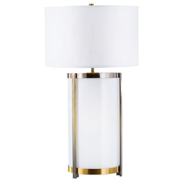 Hokkaido White and Linen Steel Table Lamp