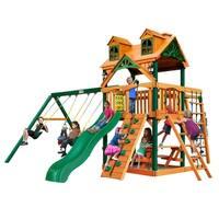 Gorilla Playsets Malibu Navigator Cedar Swing Set with Timber Shield Posts - Brown