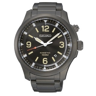 Seiko Men's SKA707 Stainless Steel Kinetic Watch with a Black Dial and 6 Month Power Reserve