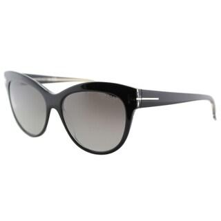 Tom Ford Lily TF 430 05D Black Cat-Eye Plastic Sunglasses