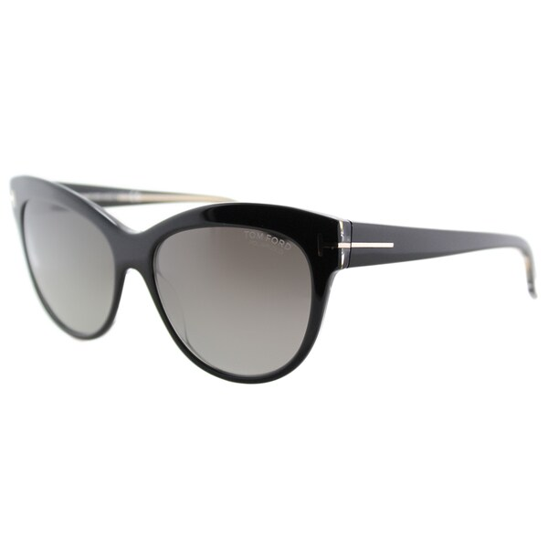 fda814af51 Shop Tom Ford Lily TF 430 05D Black Cat-Eye Plastic Sunglasses ...