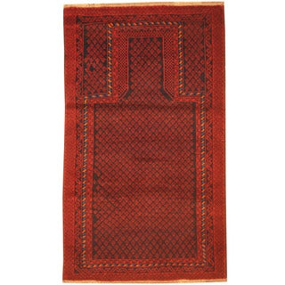 Herat Oriental Afghan Hand-knotted 1960s Semi-antique Tribal Balouchi Navy/ Red Wool Rug (2'10 x 5')