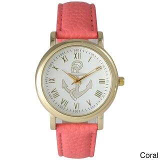 Olivia Pratt Women's Elegant Leather Anchor Emblem Watch