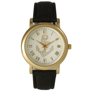 Olivia Pratt Women's Elegant Leather Anchor Emblem Watch