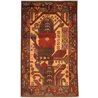 Herat Oriental Afghan Hand-knotted 1960s Semi-antique Tribal Balouchi Ivory/ Rust Wool Rug (2'10 x 4'9)