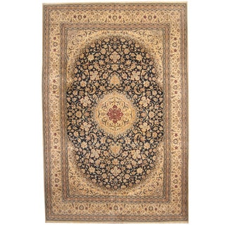 Herat Oriental Persian Hand-knotted 1960s Semi-antique Nain Wool and Silk Rug (10'2 x 15'4)