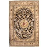 Handmade Herat Oriental Persian 1960s Semi-antique Nain Wool and Silk Rug - 10'2 x 15'4 (Iran)