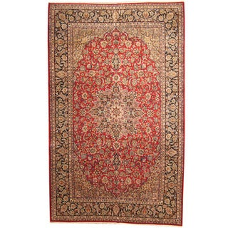 Herat Oriental Persian Hand-knotted 1960s Semi-antique Isfahan Wool Rug (9'8 x 15'7)