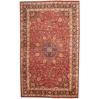 Herat Oriental Persian Hand-knotted 1970s Semi-antique Mashad Wool Rug (9'10 x 16'2)