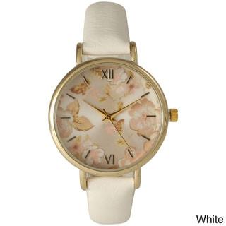 Olivia Pratt Women's Petite Leather Vintage Roses Watch