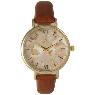 Olivia Pratt Women's Petite Leather Vintage Roses Watch