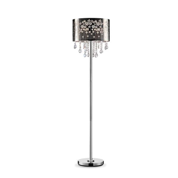 "Floral Blooms Black and Crystal 61.5"" Floor Lamp"