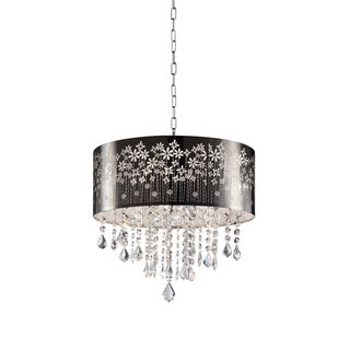 """Floral Blooms Black and Crystal 19"""" Ceiling Lamp"""