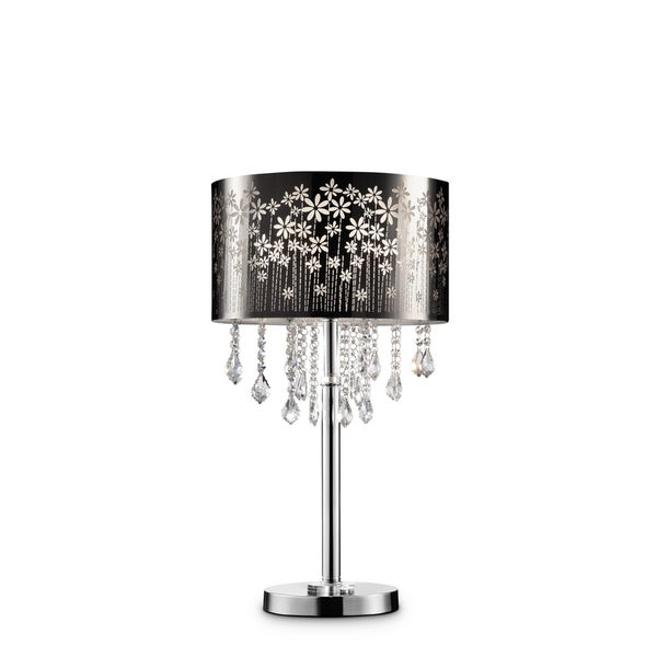 """Floral Blooms Black and Crystal 28.5"""" Table Lamp"""