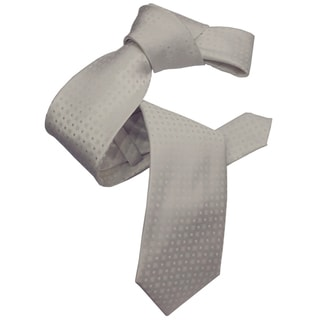 Dmitry Men's Italian White Patterned Silk Tie