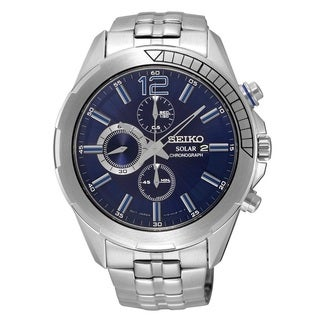 Seiko Men's SSC381 Stainless Steel Solar Chronograph Watch with a Black Dial and 6 Month Power Reserve